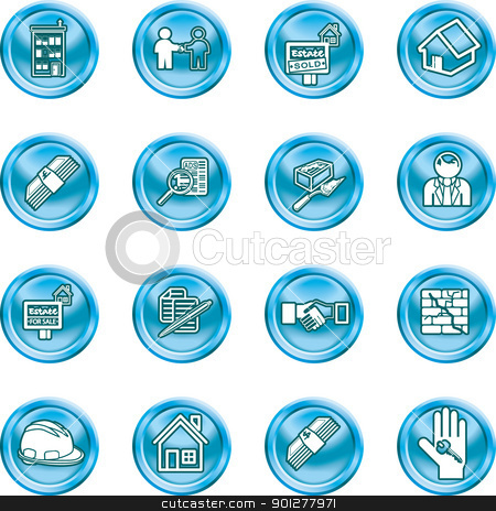 Real etate Icons stock vector clipart, Icons or design elements related to home / house buying, real estate, or estate agents.  by Christos Georghiou