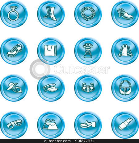 Fashion Icons stock vector clipart, A set of fashion, clothes and accessory icons  by Christos Georghiou