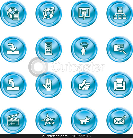 Website and Internet Icons stock vector clipart, A set of shiny Website and Internet Icons  by Christos Georghiou