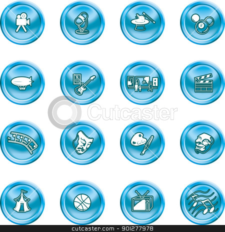 hobbies and entertainment icons stock vector clipart, Icons relating to hobbies and entertainment and pastimes  by Christos Georghiou