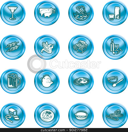food and drink icons stock vector clipart, A set of food and drink icons. by Christos Georghiou