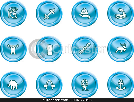 strength concept icon set stock vector clipart, A conceptual icon set relating to strength.  by Christos Georghiou