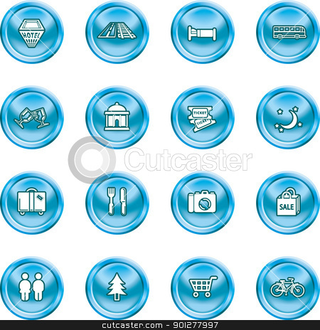 tourist icons set stock vector clipart, Icon set relating to city or location information for tourist web sites or maps etc.  by Christos Georghiou