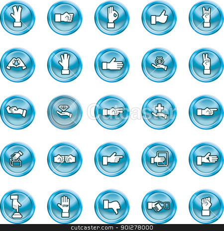 hand icons stock vector clipart, A set of lots of shiny hand icons.  by Christos Georghiou