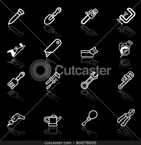 Tool icon set stock vector clipart, A vector series set of tool icons  by Christos Georghiou