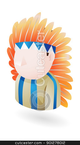 native american costume stock vector clipart, Illustration of an Indian native american costume wearing man by Christos Georghiou