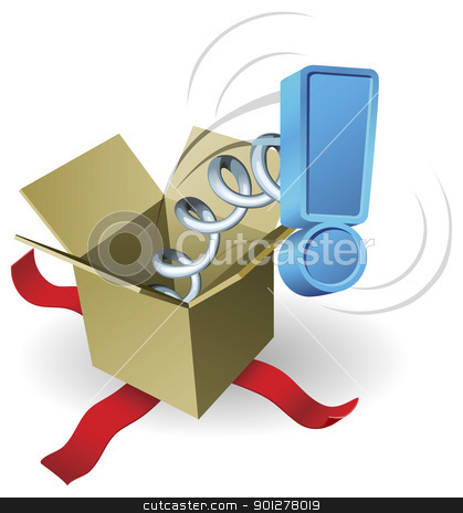 Surprise jack in the box exclamation mark concept stock vector clipart, An exclamation mark springing out of a box conceptual illustration. by Christos Georghiou