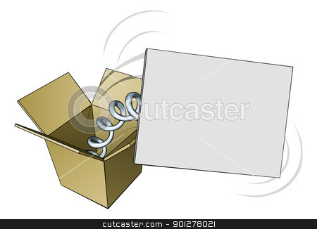Jack in the box sign stock vector clipart, A sign springing out of a box with blank copyspace for your message by Christos Georghiou