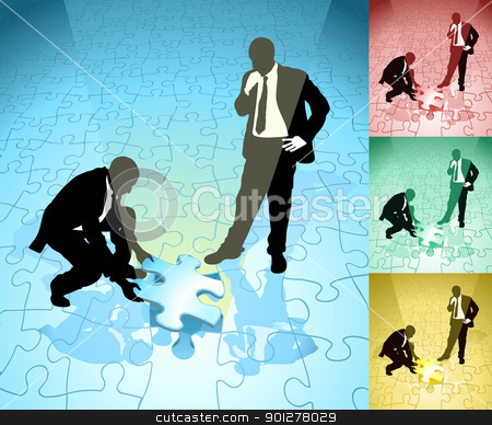 jigsaw  business concept illustration stock vector clipart, Two business people solving a jigsaw puzzle in partnership, main image on separate layers for easy editing. Also includes several different color versions  by Christos Georghiou