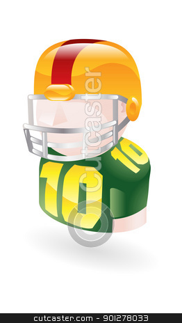 jock icon stock vector clipart, Illustration of a football player by Christos Georghiou