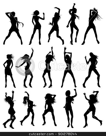 Beautiful women dancing silhouettes stock vector clipart, Silhouettes of sexy beautiful women dancing by Christos Georghiou