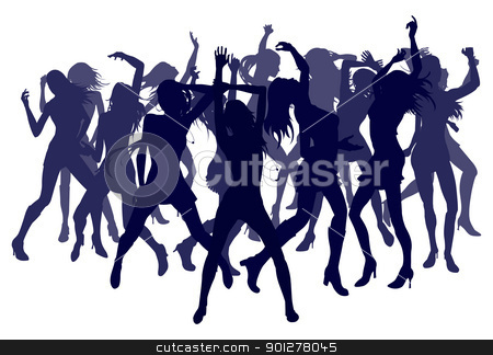 Beautiful women dancing silhouettes stock vector clipart, Group of sexy beautiful women dancing in silhouette by Christos Georghiou