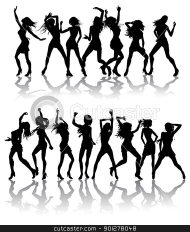 Beautiful women dancing silhouettes stock vector clipart, Silhouettes of sexy beautiful women dancing with silhouettes by Christos Georghiou