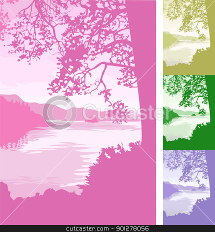 lake background Illustration stock vector clipart, A beautiful lake scene background. Vector file includes several different colour versions  by Christos Georghiou