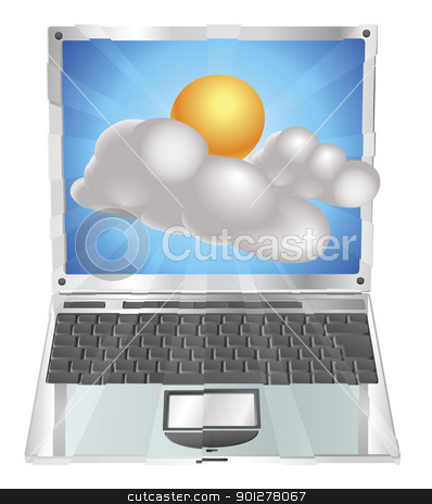 Weather sun and cloud icon  laptop concept stock vector clipart, Weather sun and cloud icon coming out of laptop screen concept by Christos Georghiou