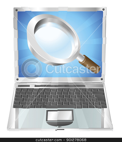 Magnifying glass search icon  laptop concept stock vector clipart, Magnifying glass search icon coming out of laptop screen concept  by Christos Georghiou