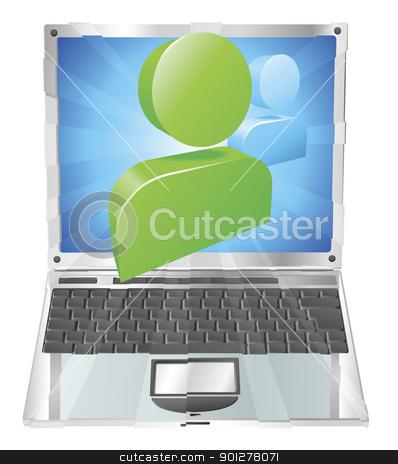 Social media icon laptop concept stock vector clipart, Social media icon coming out of laptop screen concept by Christos Georghiou