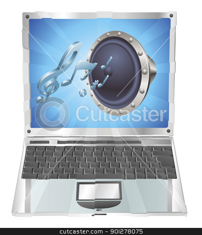 Speaker icon laptop concept stock vector clipart, Speaker icon coming out of laptop screen concept by Christos Georghiou