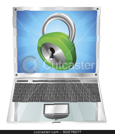Lock icon laptop concept stock vector clipart, Lock icon coming out of laptop screen concept by Christos Georghiou