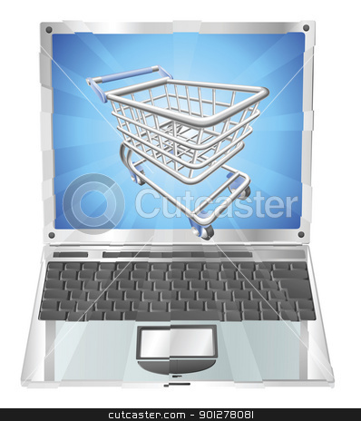 Internet shopping laptop concept stock vector clipart, Internet shopping laptop concept illustration. Shopping cart flying out of laptop screen by Christos Georghiou