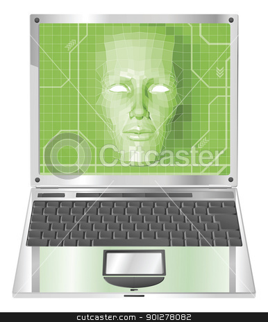 Laptop woman concept Illustration stock vector clipart, A conceptual business technology background. Woman avatar face forming and coming out of laptop screen. by Christos Georghiou