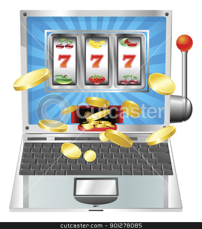 Laptop slot machine concept stock vector clipart, Laptop fruit machine online gambling win concept by Christos Georghiou