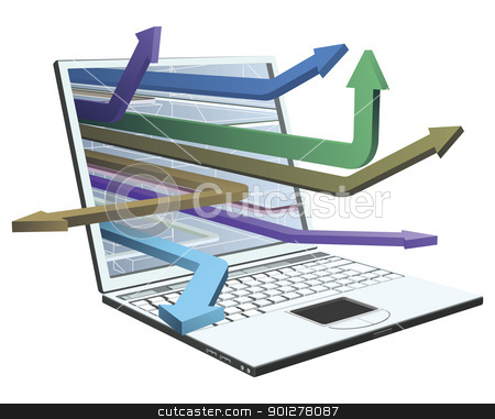 Laptop and arrows concept design stock vector clipart, A laptop with arrows coming out of syberspace concept design. by Christos Georghiou
