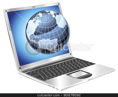 Laptop globe concept stock vector clipart, Internet concept illustration. Laptop with illuminated globe flying out of screen. by Christos Georghiou