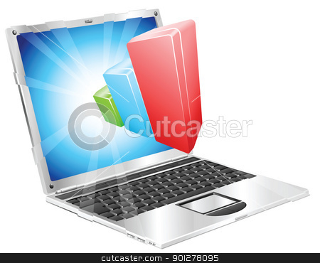 Bar chart graph laptop concept stock vector clipart, Bar chart graph coming out of laptop screen concept by Christos Georghiou