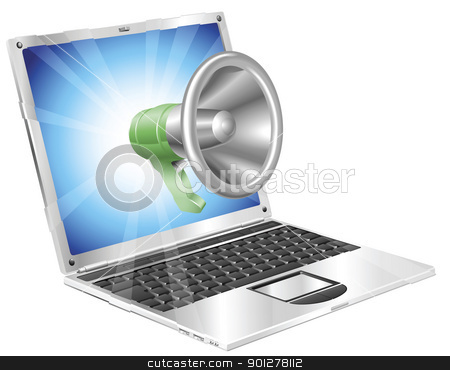 Megaphone icon laptop concept stock vector clipart, Megaphone icon coming out of laptop screen concept by Christos Georghiou