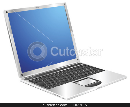 Shiny stylish metallic laptop diagonal view stock vector clipart, A stylish metallic shiny laptop computer by Christos Georghiou