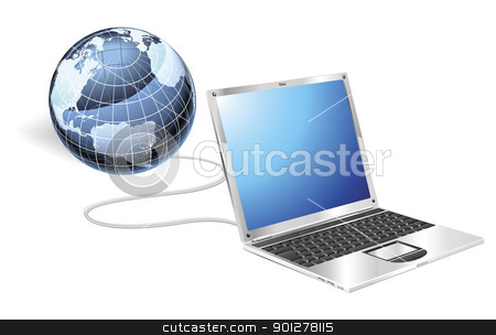Laptop globe concept stock vector clipart, Internet concept illustration. Laptop connected to a globe. by Christos Georghiou