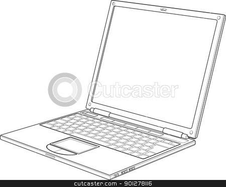 Laptop outline vector illustration stock vector clipart, Laptop outline vector illustration  by Christos Georghiou