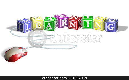 Mouse and learning blocks concept stock vector clipart, Mouse connected to alphabet letter blocks forming the word learning. Concept for e-learning. by Christos Georghiou
