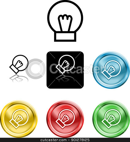 lightbulb icon symbol stock vector clipart, Several versions of an icon symbol of a stylised lightbulb   by Christos Georghiou
