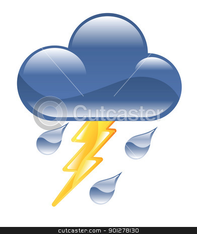 lightning storm illustration stock vector clipart, Illustration of rain cloud with lightning by Christos Georghiou