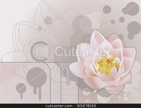 lilly background Illustration stock vector clipart, A funky background featuring a beautiful lily or lotus. No meshes used.  by Christos Georghiou