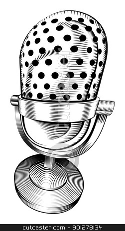 black and white microphone stock vector clipart, a black and white illustration of a microphone by Christos Georghiou