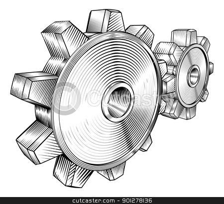 black and white clogs stock vector clipart, a black and white illustration of interlocking cogs by Christos Georghiou