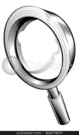 black and white magnifying glass stock vector clipart, a black and white illustration of a magnifying glass by Christos Georghiou