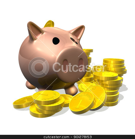3d render piggy bank and coins illustration stock photo, 3d rendered illustration of a cartoon piggybank with gold coins   by Christos Georghiou