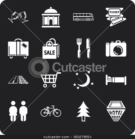 location tourism icons stock vector clipart, Icon set relating to city or location information for tourist web sites or maps etc. Includes icons for Restaurants, Lodging, Attractions, Shopping, Tours and Daytrips, Suggested Itineraries, Nightlife, Local Transportation (