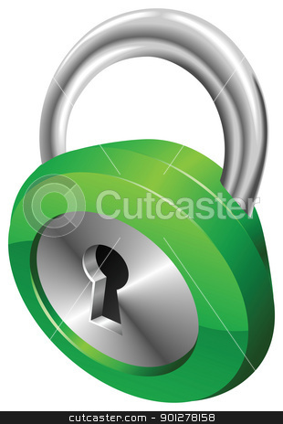 Shiny glossy green security padlock vector illustration  stock vector clipart, A shiny silver and green steel metallic security padlock vector illustration with dynamic perspective. Can be used as an icon or illustration in its own right. by Christos Georghiou