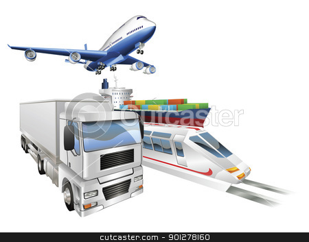 Logistics concept airplane truck train cargo ship stock vector clipart, Logistics concept illustration, airplane, truck, train and cargo container ship. by Christos Georghiou
