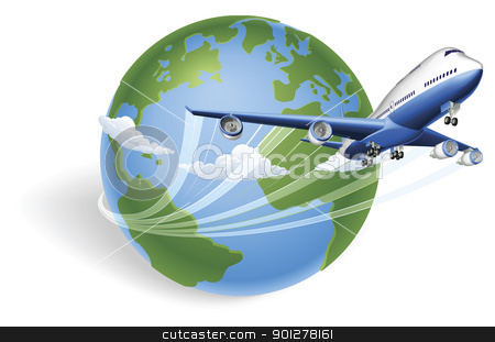 Airplane globe concept stock vector clipart, Airplane circling the globe and flying out by Christos Georghiou