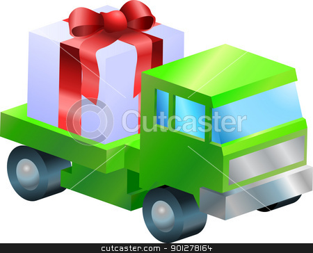 lorry truck  gift illustration stock vector clipart, A truck or lorry carrying a nicely wrapped gift  by Christos Georghiou