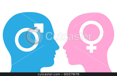 Man and woman faces silhouette stock vector clipart, Man and woman profile faces in silhouette by Christos Georghiou