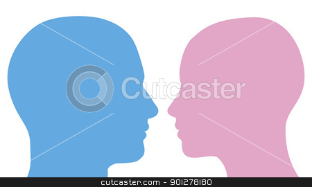 Man and woman heads silhouette stock vector clipart, Man and woman heads facing each other in profile silhouette by Christos Georghiou