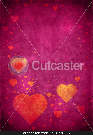 Valentines Background stock photo, Love themed magenta vintage paper background with hearts and copy space by HypnoCreative