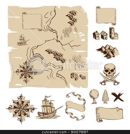 Make your own fantasy or treasure maps stock vector clipart, Example map and design elements to make your own fantasy or treasure maps. Includes mountains, buildings, trees, compass etc. by Christos Georghiou